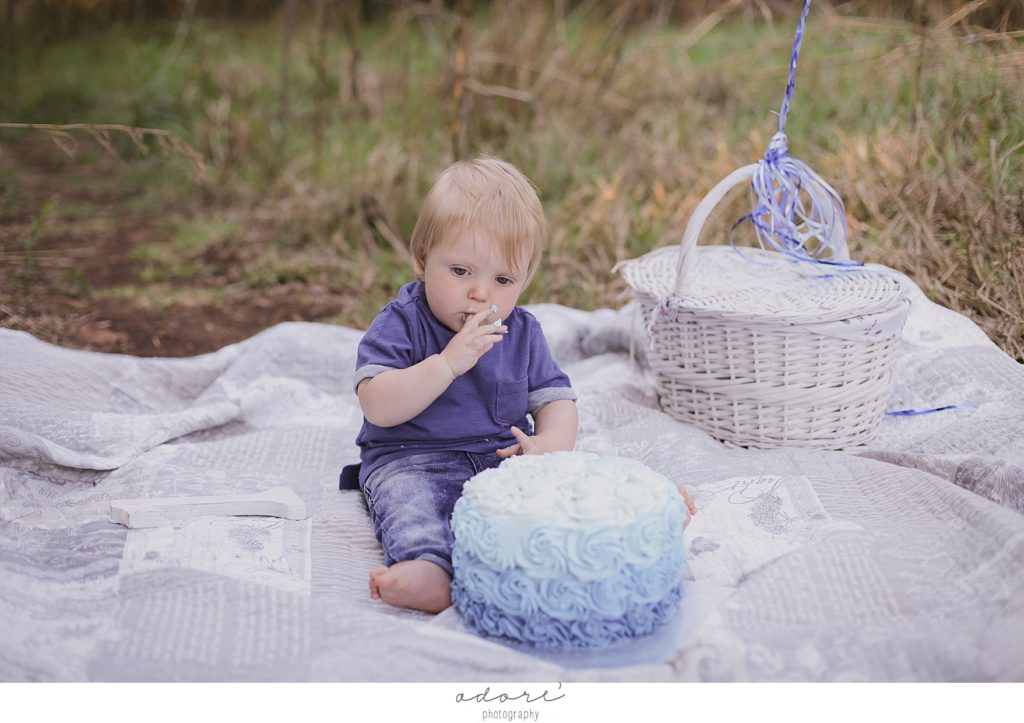 outside cake smash first birthday shoot