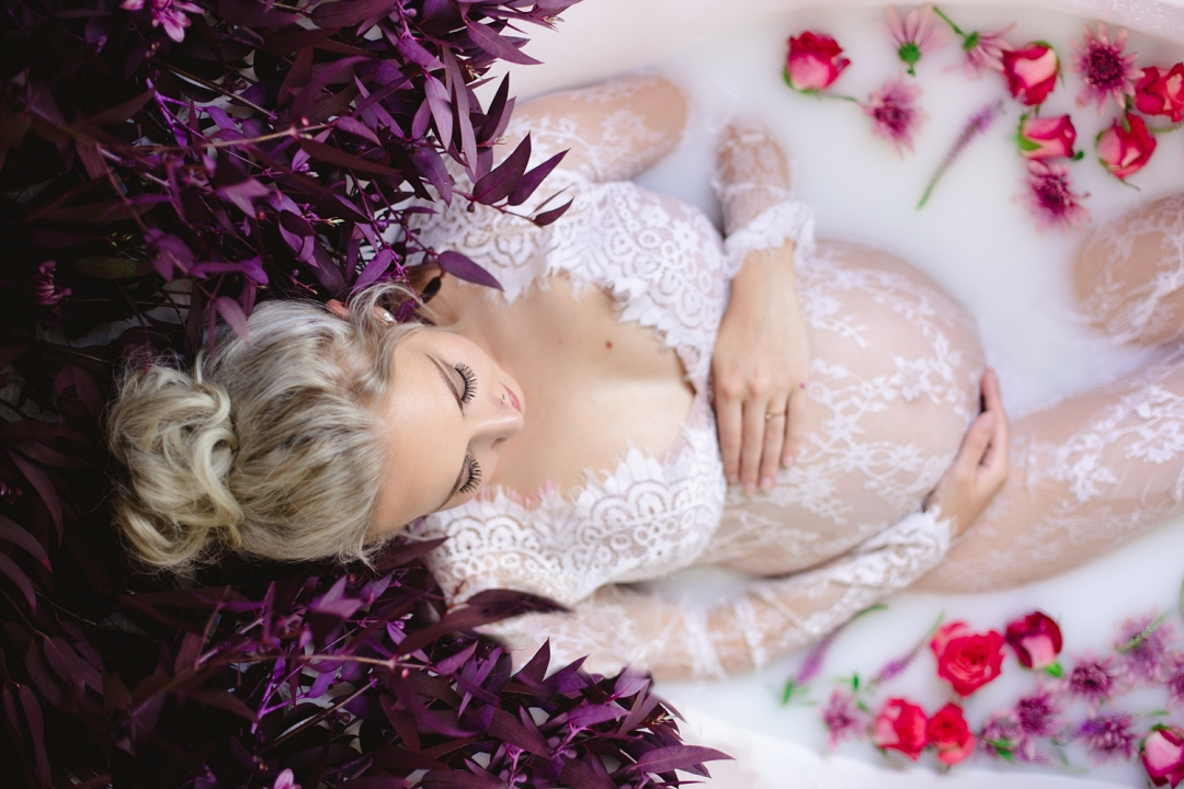 maternity milk bath photo shoot