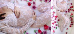 maternity milk bath photo shoot